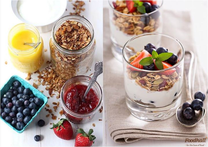 Ideal for a healthy breakfast on-the-go, yogurt parfaits are easy to assemble with healthy staples like granola, strawberries and blueberries.  Make your own parfait today with this simple DIY:  Layer granola, yogurt, strawberry in a parfait glass. Sprinkle the top with some more granola, garnish with blueberries and some fresh mint.