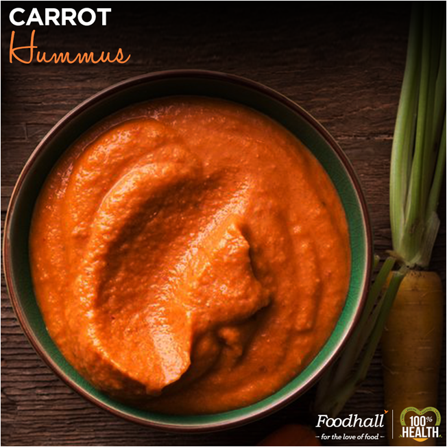 Carrots combined with fiber rich garbanzo beans tastes amazing.  Rich in beta carotene Carrot Hummus can be Served with crudites, flat breads or pita and salad greens, or as  a spread.  Try and Buy this delicious carrot hummus at Foodhall Today!