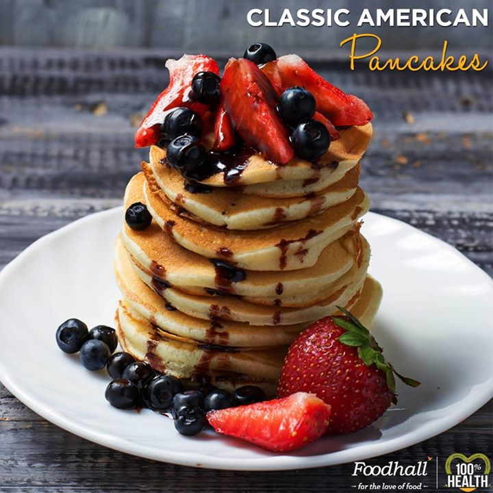 These classic American pancakes are great for a weekend brunch. Pair them with crisp fried bacon  or Serve them doused with warm maple syrup, or just try adding a handful of fresh blueberries to the batter before cooking.  Give these delicious pancakes  a healthy twist  with our whole wheat pancake  batter available at @Foodhall Today!