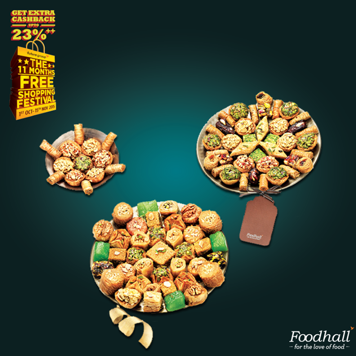 Delight your loved ones with our exotic baklava treats! Purchase exclusive hampers to enjoy Future Group's Shopping Festival to get an assured cashback of upto 23% for the next 11 months.