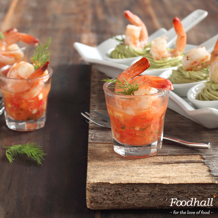 Everyone loves shrimp cocktails! Serve cooked shrimp with a no-cook sauce made from olive oil, chopped chilies, cilantro, basil, chives, lemon juice, and garlic.  Lace the tequila glasses with some spicy tahini sauce for added fire.