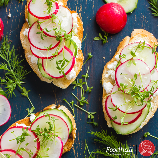 Make a seasonal Crostini with zesty radish roast. Toss them in honey, lemon and thyme and top it with some crumbled feta for a delicious party starter.