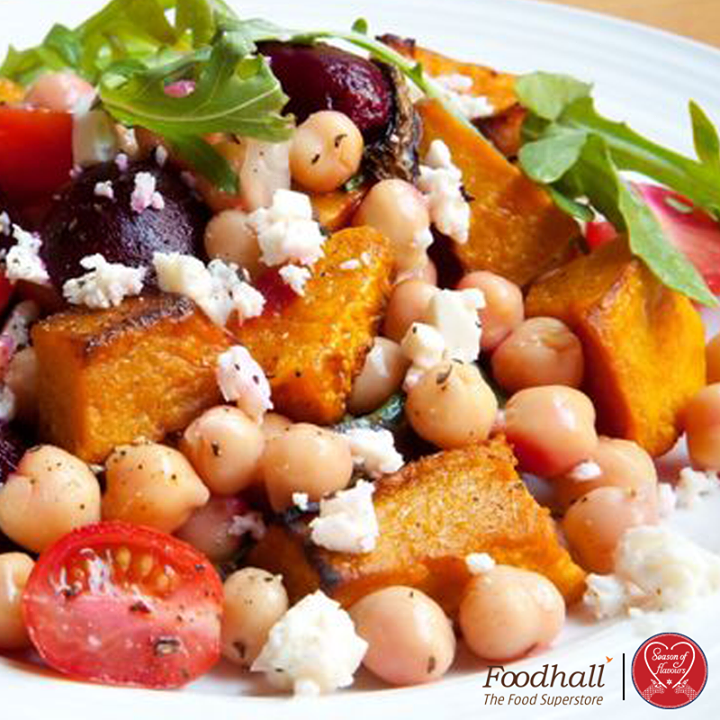 Full of contrasting flavors and textures, this winter salad combines roasted butternut squash with chickpeas, crunchy apples, tomatoes, briny olives, and feta cheese. Drizzle with dill flavoured oil for an elegant finish.