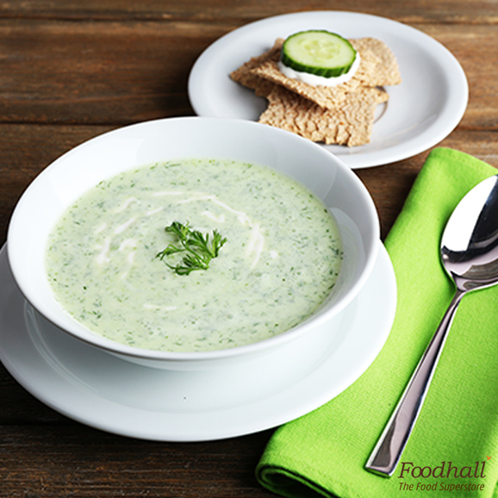 Here's our recipe for a healthy ginger & cucumber gazpacho. Puree the cucumber, ginger, garlic and minced shallot in a blender until smooth.Add some buttermilk, lime juice and fresh mint.Season with salt, cracked pepper and enjoy!