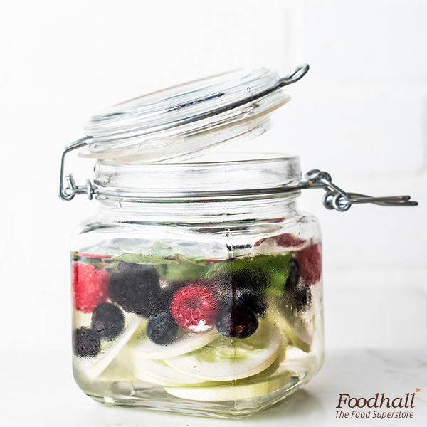 Plain water is so passé.  Make your very own infused water by throwing in some blueberries, raspberries, torn mint leaves and sliced cucumber to a jug of water. Let it sit in the refrigerator for a while and serve chilled.  What other flavourful infusions would you like to try at home?