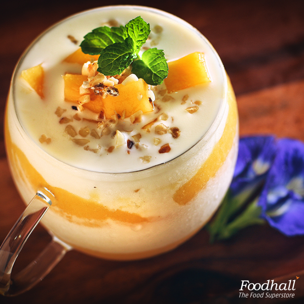 Enjoy a power-packed morning with peach and mango yoghurt parfait from our store!  It is indeed the perfect way to start your day.