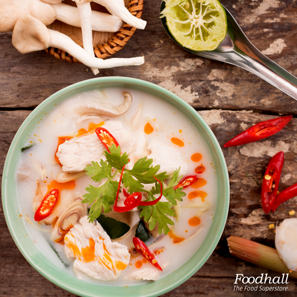 Recreate the authentic taste of the Thai coconut soup right in your kitchen.  Cook ginger, lemongrass and curry paste for a minute. Slowly pour chicken broth over the mixture, stirring continually. Add in fish sauce, brown sugar, coconut milk and allow to simmer for 15 minutes. Add mushrooms & shrimp; cook for about 5 minutes. Serve hot.