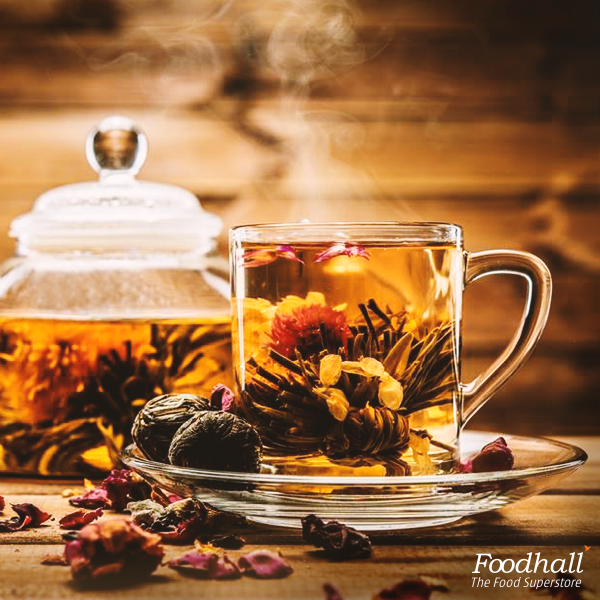 The Chinese blooming tea blossoms with flavour as the dried natural leaves and flowers unfurl in a kettle of hot water. It tastes as good as it looks!