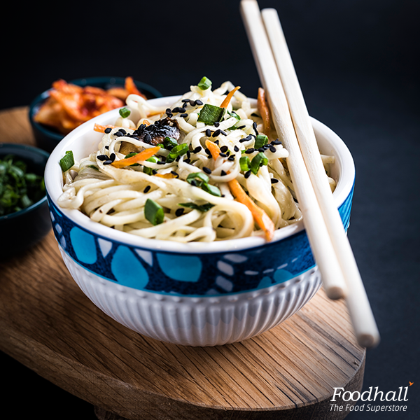 Trying to eat healthy? Stir fry carrots, kimchi, spring onion with fresh egg noodles available at our noodle bar.  Sprinkle some black sesame seeds and dig in for a quick dinner.