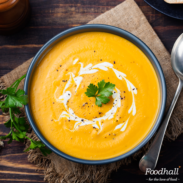 Just looking at the colour of this glowing Pumpkin soup makes us feel warm inside.  Boil pumpkin, onion, thyme, garlic, salt, peppercorns in stock & simmer until soft; blend and return to heat. Stir in heavy cream & enjoy your bowl of sunshine!