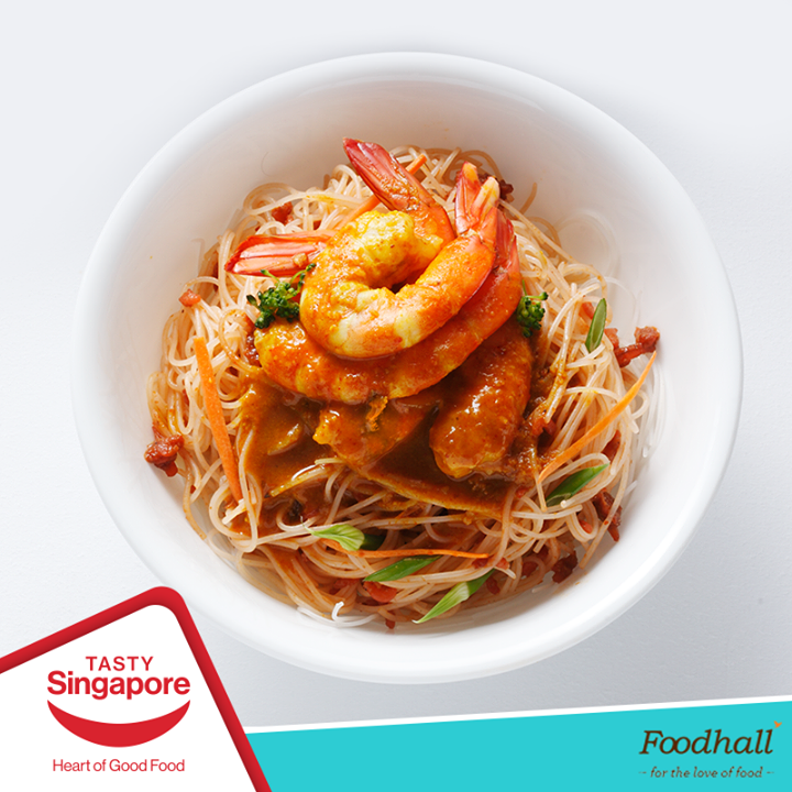 Need some #lunch inspiration? We've whipped up a #healthy meal using Peacock Basmati Rice Spaghetti topped with shrimps, veggies & tossed it in our favourite sauces. This naturally #fatfree & #glutenfree spaghetti is now available at all our stores. Get some today!