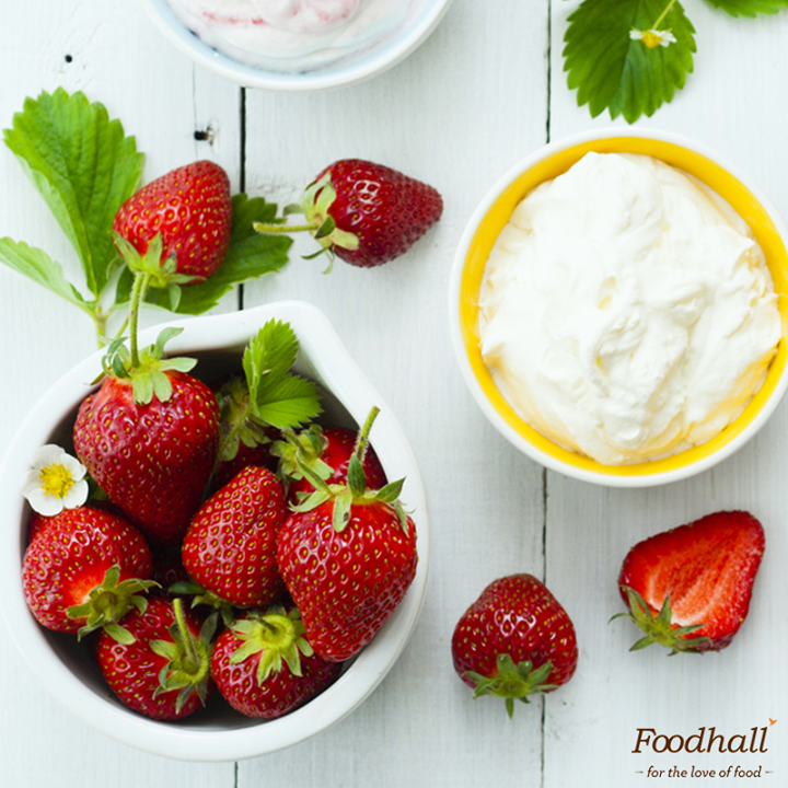 Strawberries are here! We're enjoying these gorgeous berries with fresh whipped cream – a combination that never fails. Want some? Come get them from our stores!