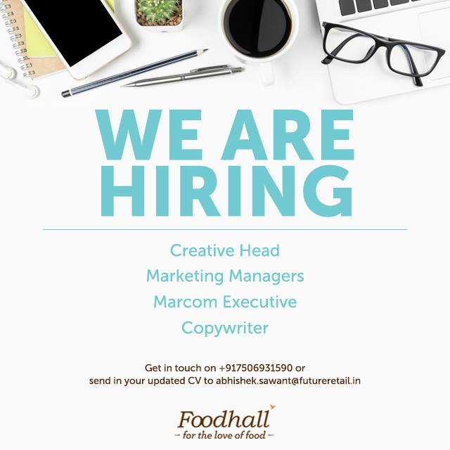 We are looking for passionate and smart-working individuals to join a young, dynamic team of go-getters. If you think you fit the bill or know someone who does, get in touch. #FoodhallIndia #ForTheLoveOfFood #FoodhallIsHiring