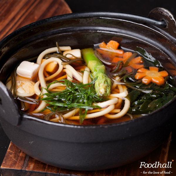 Turn the heat up with hot Udon noodles & miso broth. Stop by the stores & dig in!