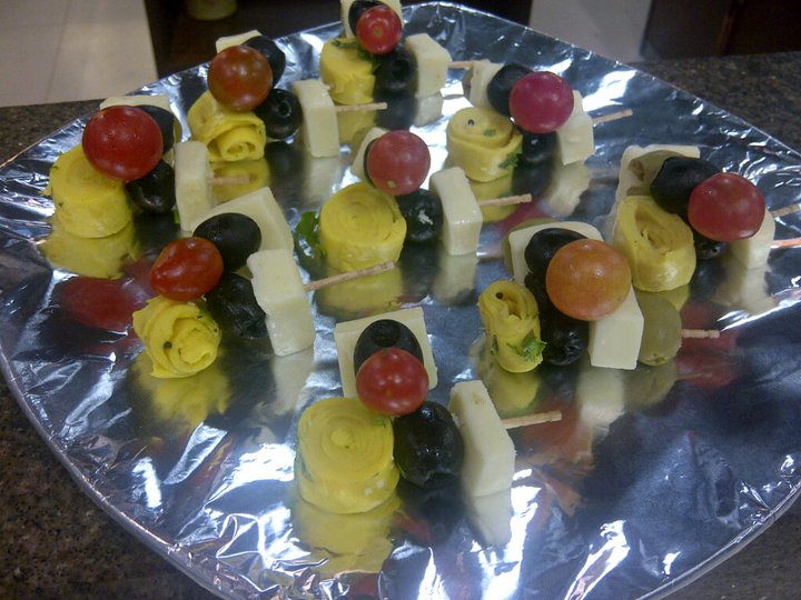 Try Khandvi, Olive and haloumi skewers with mint chutney...@ Foodhall India