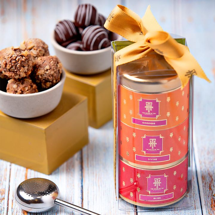 Introducing our stackable series of festive teas, curated to bring a flush of happiness and health to all celebrations this #Diwali!  The exquisite collection features the fragrant floral teas Bliss, Divine and our favourite, Goddess –  an exquisite blend of marigold, holy basil and green tea!  Discover our #festivegifting collection at #TheHouseofTea at a Foodhall near you, or contact us on +91809503111 for home delivery.  The House of Tea by Foodhall #THTIndia #FoodhallIndia #FestiveSeason #Diwali #FestiveTea #TeaTime #TeaLovers #TeaoftheDay #FestiveGifting #DiwaliGifting