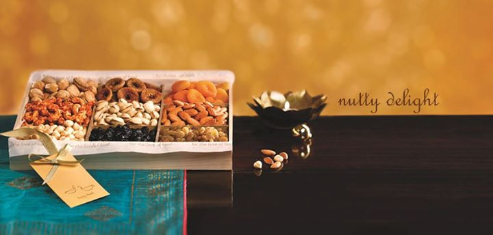 Nutty Delight  Brimming with the most exotic dry fruits and scrumptious nuts, this hamper is an all-time favourite on any festive occasion.  CHOICE OF 4/6/9 zzDRYFRUITS, PACKAGING   Rs. 999 onwards    For more such gifting ideas visit www.foodhallonline.com