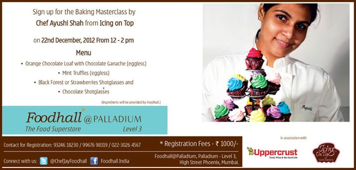 Christmas is round the corner and you still haven't baked a single cake!   Here is your chance to master the art of baking with Chef Ayushi Shah. Call  Mr. Athar Siddiqui on +91-932-461-8230 to register now!