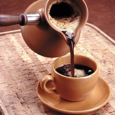 Turkish coffee is famed for its bold, rich taste. It has a hint of cardamom and is prepared carefully in an ibrik and allowed to sit a minute before serving to allow the coffee grains to fall to the bottom of the cup. According to a Turkish proverb