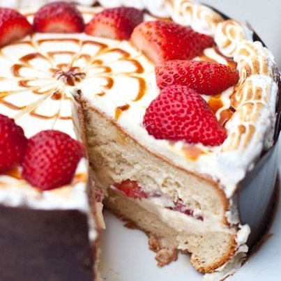 Tres Leche, a light cake made of evaporated, condensed and whole milk, when served with sour cream and strawberries makes for a divine dessert.