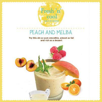 Peach and Melba Smoothie: Rinse & drain peaches + blend in peaches & raspberry + orange juice + fresh custard + whizz and serve chilled.