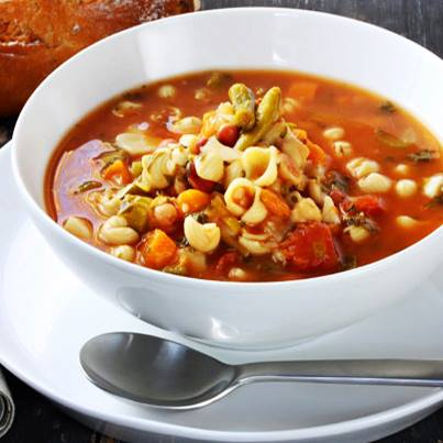 A thick Italian soup made with vegetables whose common ingredients include beans, onions, celery, carrots, stock, and tomatoes. #GuessTheSoup