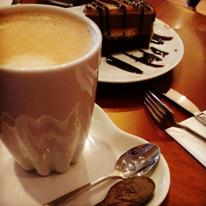 Chocolate cake and coffee make for an amazing Wednesday morning treat.
