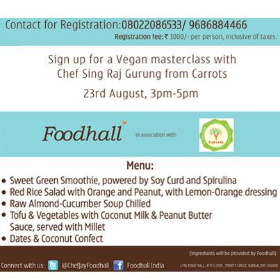 Chef Sing Raj Gurung, has his Vegan #Masterclass planned out for all you #Bangalore folks. Sign-up, already!