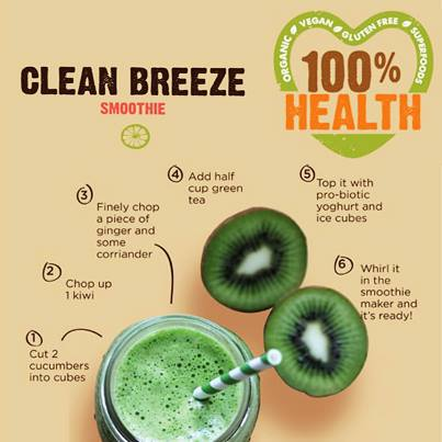 Clean Breeze Smoothie: churn together 2 cucumbers + 1 kiwi + some ginger & coriander + half cup green tea + yogurt. #Recipe