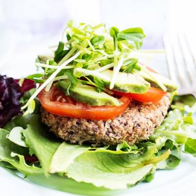 The Quinoa (pronounced 'keen-wah') and Blackbean Burger is high on nutrients and low on calories. #SuperFoods #SuperTaste