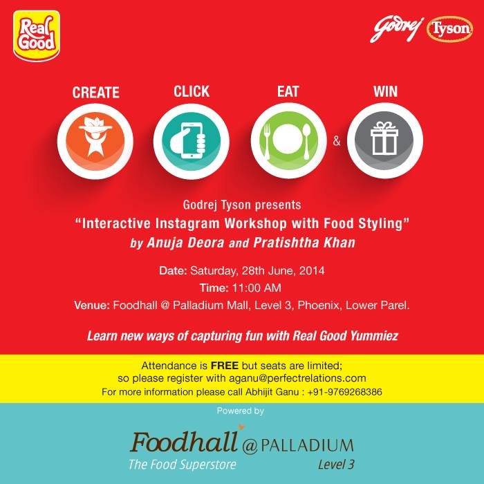Need tips for photogenic food? Let your food look as good as it tastes. Discover ways to enhance the visual appearance of food in your pictures. Join us tomorrow, 28th of June at Foodhall in Palladium Mall, Mumbai for the