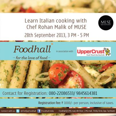 #Bangalore! Gear up for #Masterclass. Register to learn how to cook sumptuous Italian dishes. Come one, come all.