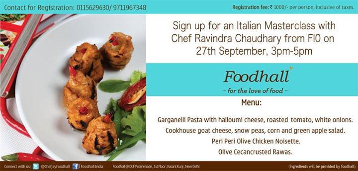 Chef Ravindra Chaudhary is eager to let you in on the secrets of great #Italiancooking. Sign up for his #Masterclass now. #Delhi