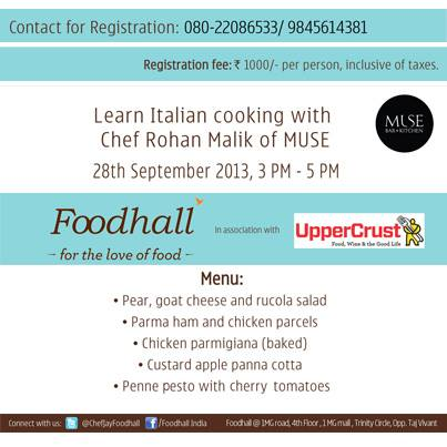 Hey #Bangalore! Learn how to whip up great Italian food this 28th. It is #Masterclass time, after all.