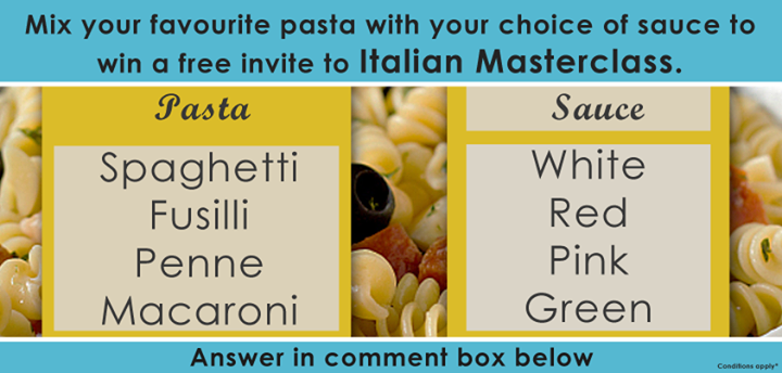 Mix your favourite pasta with your choice of sauce. Answer real quick & you stand a chance to #win a free invite to #Masterclass. #contest