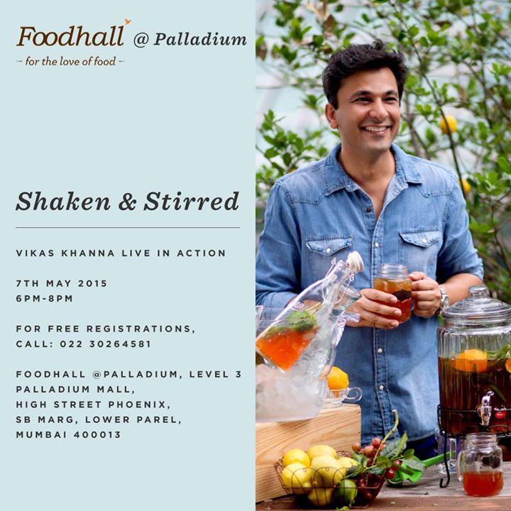 Witness award winning, Michelin Star Chef Vikas Khanna live in action at Foodhall @ Palladium Mumbai tomorrow from 6-8 pm!  Join us for an exclusive book signing and watch as he demonstrates how to stir up refreshing drinks from his new book- Shaken and Stirred.