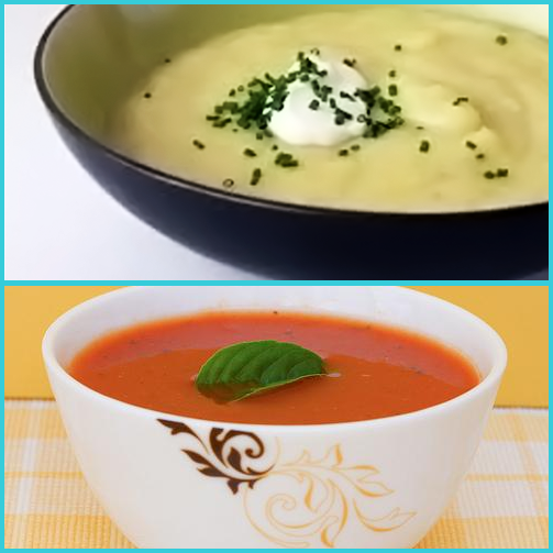 Which of these is your favorite #soup? 1. Creamy potato and leek 2. Tomato and Basil