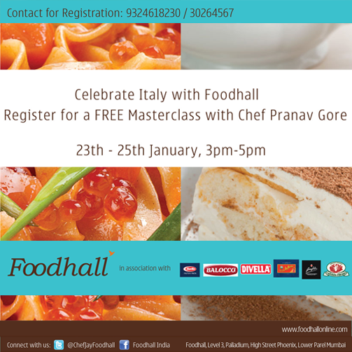 Learn how to cook a classic Italian three course meal with Chef Pranav Gore at Foodhall. Time to gourmet it up!