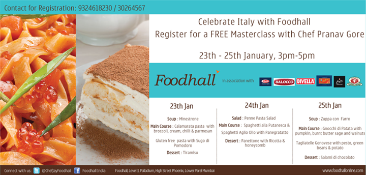From the simple Penne Pasta Salad to traditional Tiramisu, learn how to cook Italian food at Foodhall's #Masterclass! Register for free! #Mumbai
