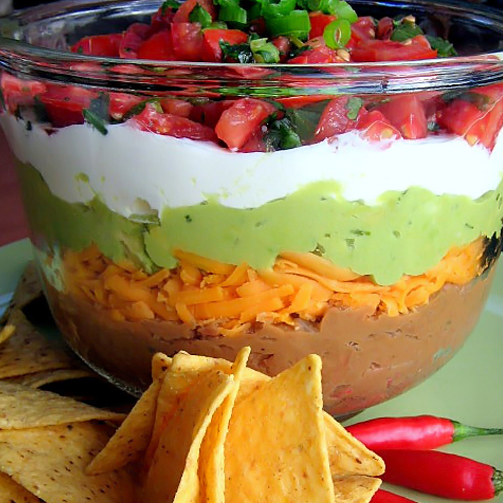 Movie night gets a whole lot more fun with the Mexican five layer dip!
