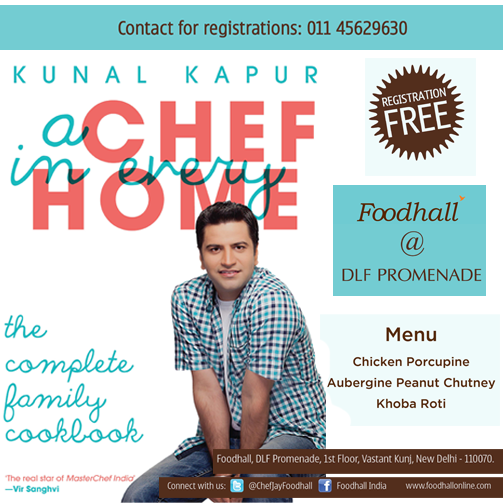February edition of Masterclass gets more special with Chef Kunal Kapur releasing his book 'A Chef in Every Home'. Registration is free! #Delhi