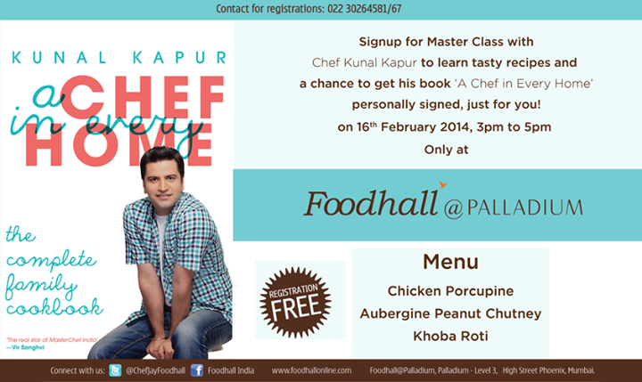 Have you signed up for the #Masterclass yet? Do so NOW! Celebrity Chef Kunal Kapur, has his #Masterclass planned out for all you #Mumbai folks. Free registrations!
