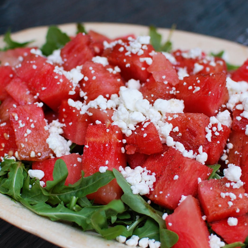 Watermelon and goat cheese salad is not just yummy but also super easy to make. #MustTry #Recipes