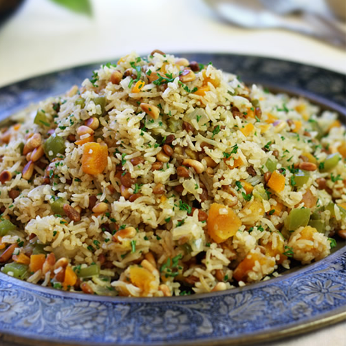 The Middle Eastern pilaf is rich in raisins, cashews, pistachios. The dish is a dry fruit fest, to be honest.