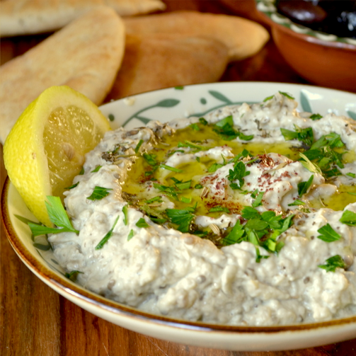 Baba Ghanoush, made of aubergines, olive oil and various spices is a great dip to serve when hosting guests.