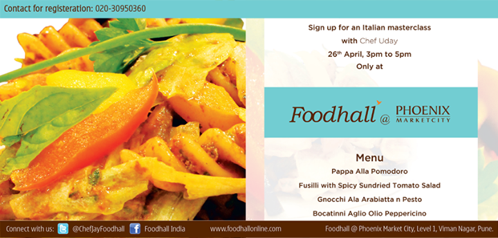 Hola #Pune! You must attend Italian #Masterclass by Chef Uday. It is gonna be a massive feast!