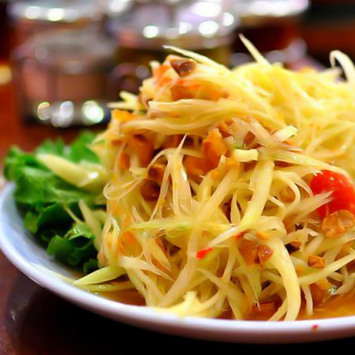 Feel fresh in this heat with the Som Tam (raw papaya) salad served fresh at Foodhall! :)