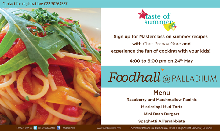 The kids #Masterclass is happening at Foodhall @ Palladium with Chef Pranav Gore. Register NOW! #Mumbai