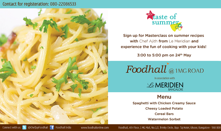 #Bangalore! Chef Ajith from Le Meridian is here with his kids #Masterclass. Have you signed up for the class yet?!
