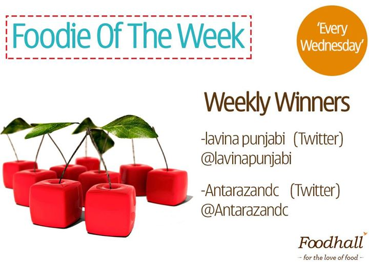 Congratulations to last week's winners of our #FoodieOfTheWeek contest and thank you to all those who participated!